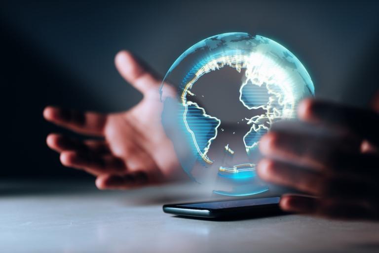 économie numérique terre holographique smartphone